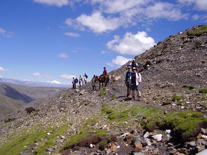 Kary on Pin Tuk the horse on trek in Tibet