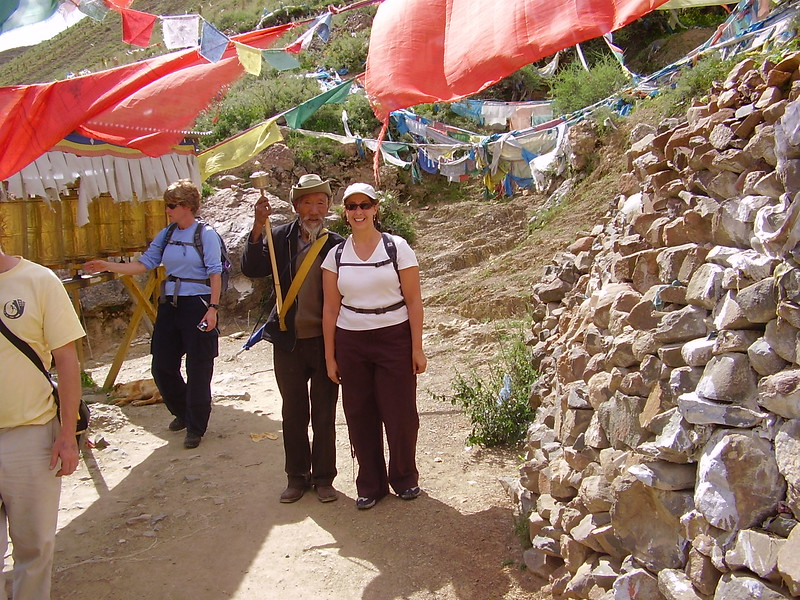 Kary Walking the Kora with a Tibetan Man