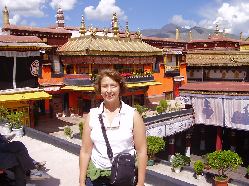 Kary on the roof of the  Johkan in Tibet