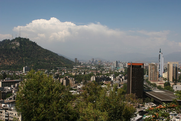 """From the top of Cerro Santa Lucia (a park) in Santiago looking northeast towards the Andes Mountains. See: <a href=""""http://en.wikipedia.org/wiki/Santa_Lucia_Hill"""">http://en.wikipedia.org/wiki/Santa_Lucia_Hill</a>"""