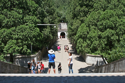 Ming Dynasty tomb outside Beijing. Dingling is the mausoleum of Emperor Shenzong Zhu Yijun and his empresses. This view is from the steps of the Minglou (Soul Tower) looking towards the exit from the Underground Palace.