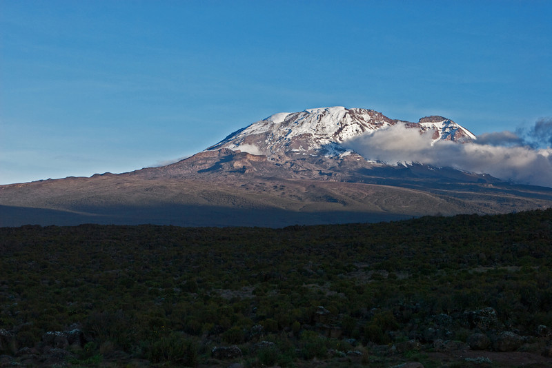 Approaching sunset. Kilimanjaro peak. Day two hike. Shira Camp 1.