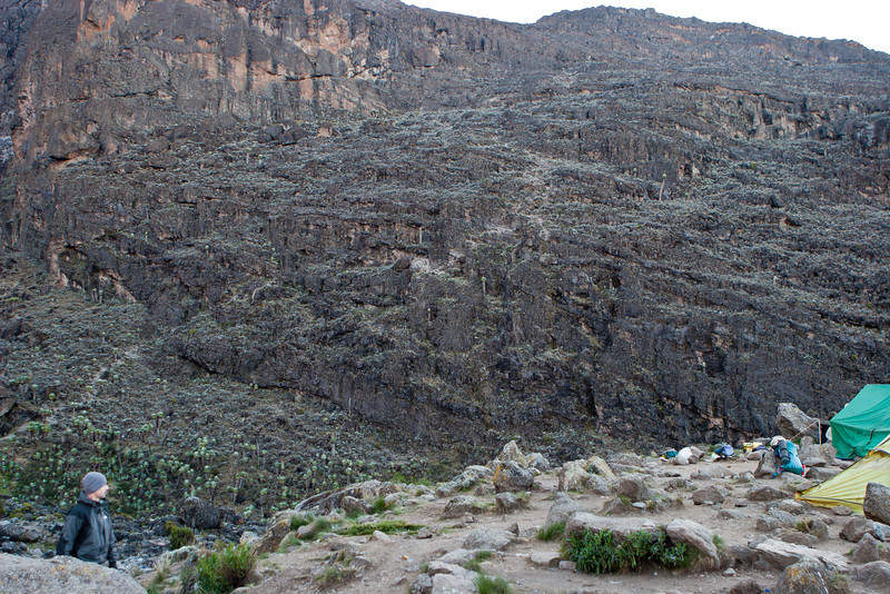 Day five hike. Departing Barranco Camp. Climbing Barranco Wall - look carefully for the trail.