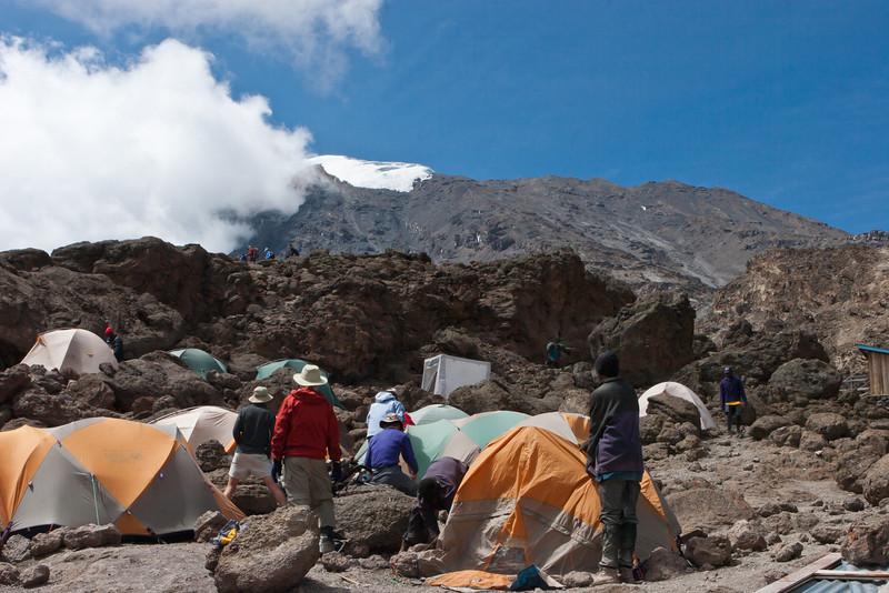 Day five hike. Barafu Camp.