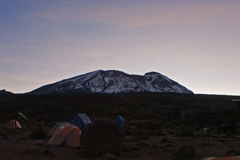 Day four hike. Sunrise at Shira Camp 2. Kilimanjaro Peak.