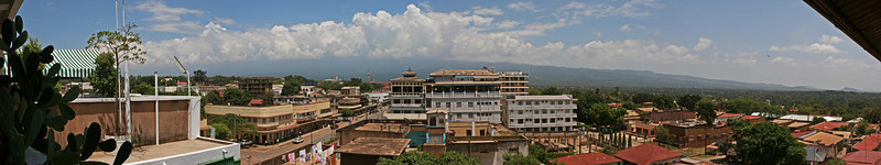 "Mt Kilimanjaro under the typical mid day clouds from the rooftop of Hotel Kindoroko in Moshi.  <a href=""http://www.kindorokohotels.com/"">http://www.kindorokohotels.com/</a>"