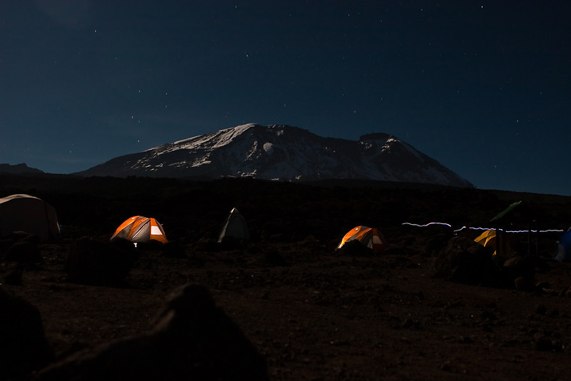Day three hike. Shira Camp 2. Night sky over Kilimanjaro Peak.