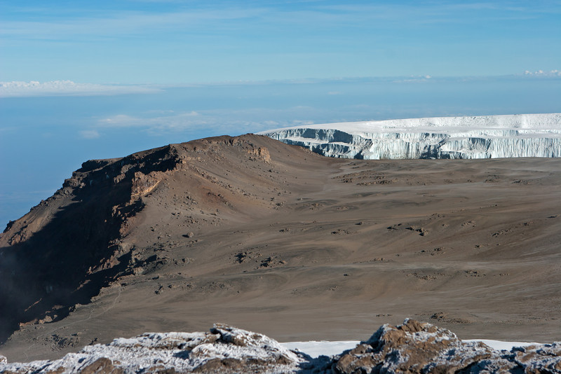 Day six hike. Mt. Kibo crater. Western Breach at left.
