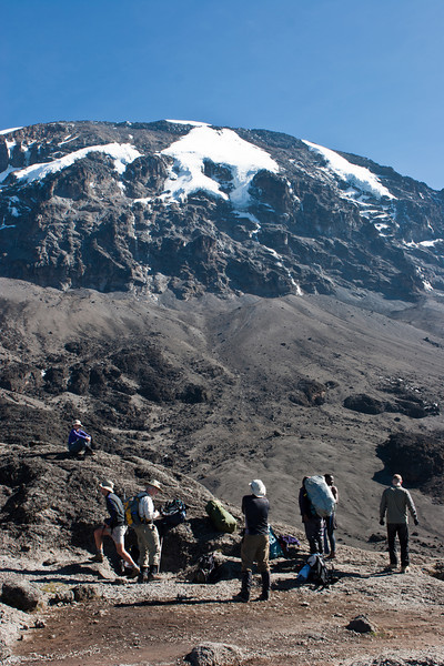 Day five hike. Top of Barranco Wall. Looking towards Kilimanjaro summit.