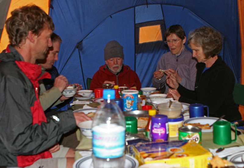 Breakfast. First night camp. Mti Mkubwa Camp Site.