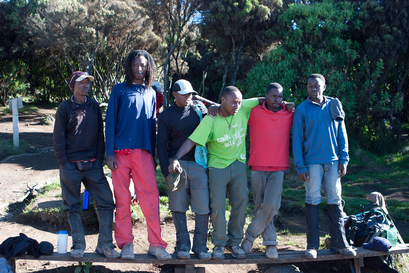 Day seven hike. Heading for Mweka Gate. Passing thru Mweka camp. The guides.