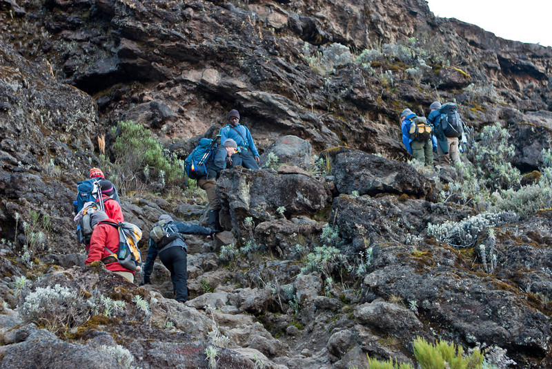 Day five hike. Departing Barranco Camp. Climbing Barranco Wall.