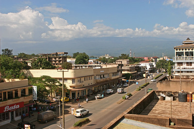 Mt Kilimanjaro under the typical mid day clouds from the rooftop of Hotel Kindoroko in Moshi.  http://www.kindorokohotels.com/