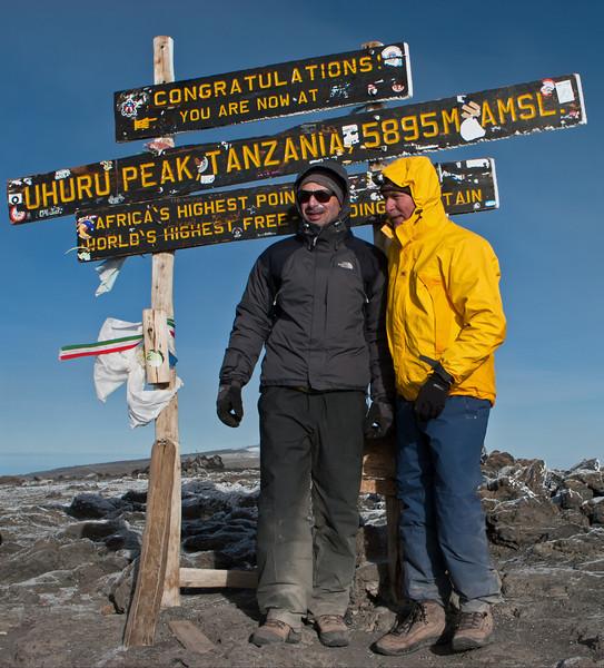 Day six hike. Uhuru Peak. Tony and Rick.