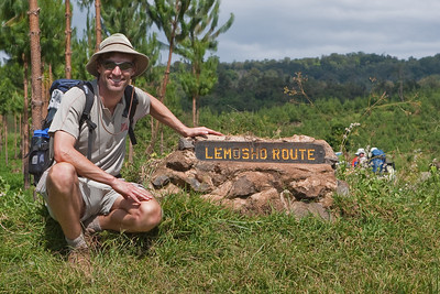 Allan Wright, owner of Zephyr Adventures, at the beginning of the Lemosho Route up Mount Kilimanjaro.