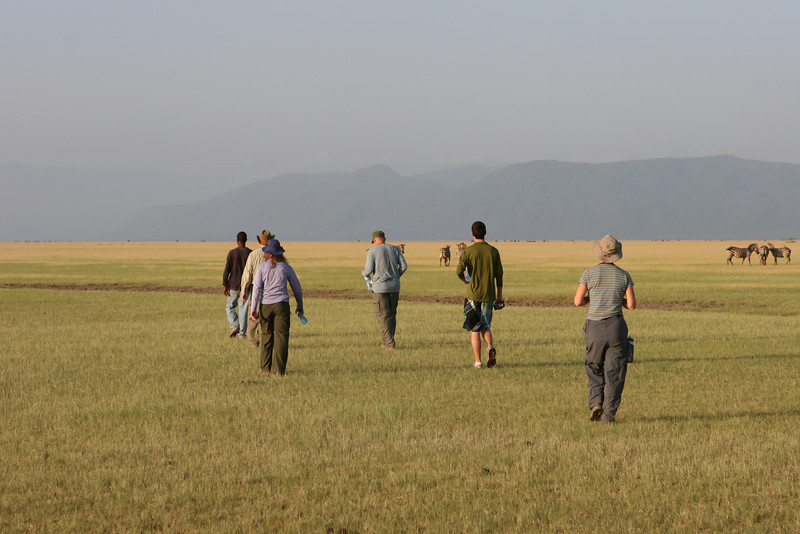 The plains east of the Migunga Forest Camp and Lake Manyara National Park. L-R: Guide, Dan, Heather, Art, Mike, Liz.