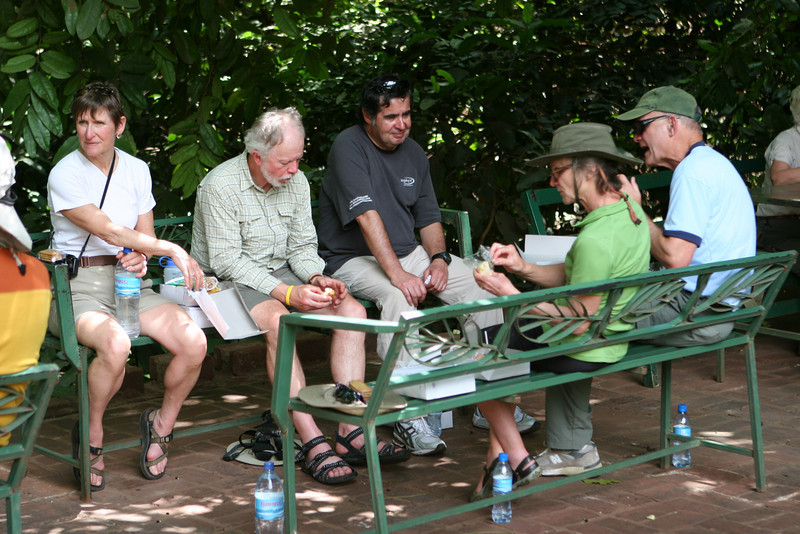 Lunch at  Lake Manyara National Park. L-R: Liz, Dan, Francisco, Dorothy, Art.
