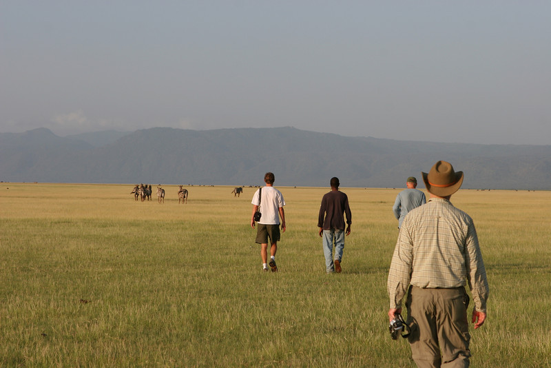 The plains east of the Migunga Forest Camp and Lake Manyara National Park. L-R:Allan, Guide, Art, Dan.