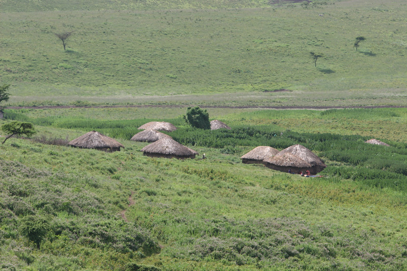 Along route B-144 past the high point of Ngorongoro Crater Conservation Area and heading down to the Serengeti National Park. Each cluster of houses we pass is a Masi family allowed to live in the Park.