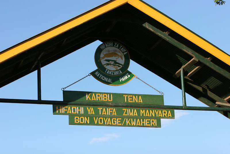 Entrance gate at  Lake Manyara National Park.