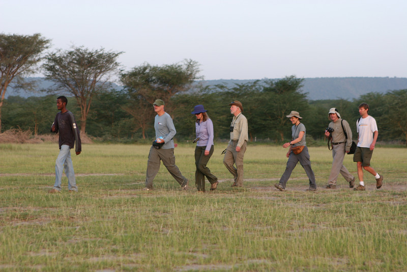 The plains east of the Migunga Forest Camp and Lake Manyara National Park. L-R: Guide from the camp, Art, Heather, Dan, Liz, Dave, Allan.
