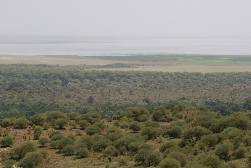 Lake Manyara from the land cruiser climbing up the Manyara Escarpment on B-144 out of the Rift Valley.