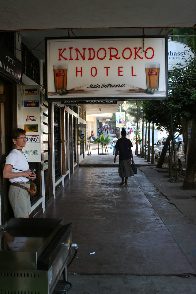 Liz checks out Sidewalk in front of Kindoroko Hotel, Moshi.