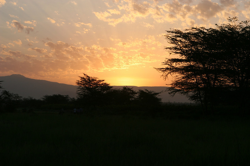 Sun rise on the plains east of the Migunga Forest Camp and Lake Manyara National Park.