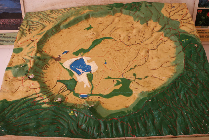 3D map of the Ngorongoro Crater at the entrance pavilion.