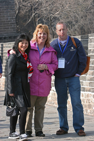 ENCSS/RAB/DNR. March 17, 2013. Trip to the Great Wall, Badaling, China ( http://www.badalinggreatwall.com/ ). L-R: Mei Li, Cathy Stepp, Gary Vaughan.