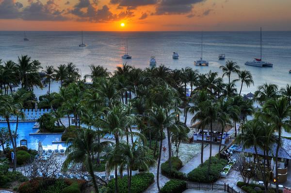 Sunset over the Aruba Hyatt pool