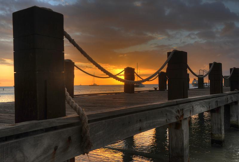 Aruba dock at sunset