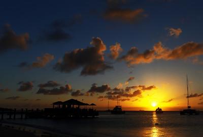 Aruba sunset over Piet's bar