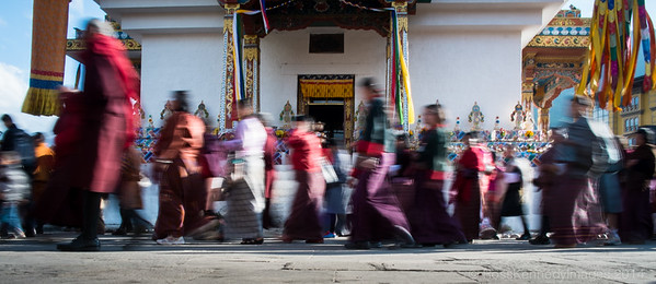 Pilgrims circulate the Memorial Stupa in Thimphu