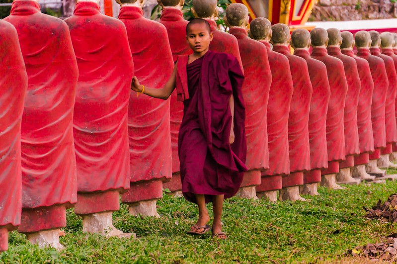 Young monk and monks