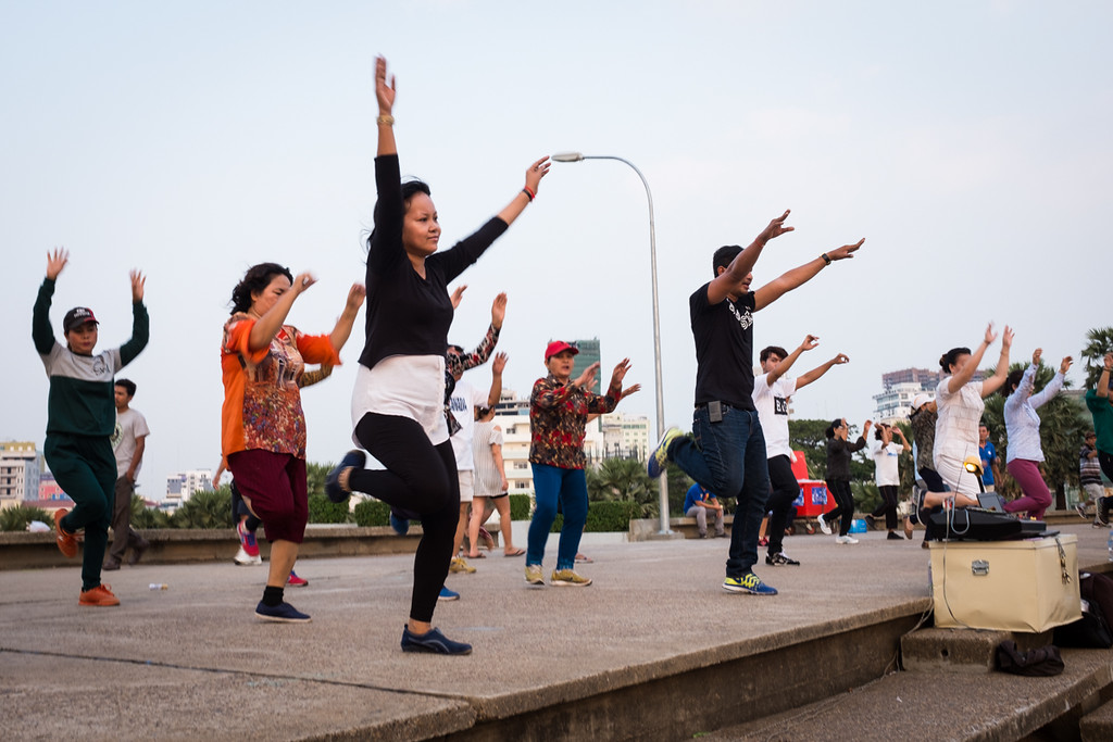 Evening Aerobics at Olympic Stadium, Phnom Penh