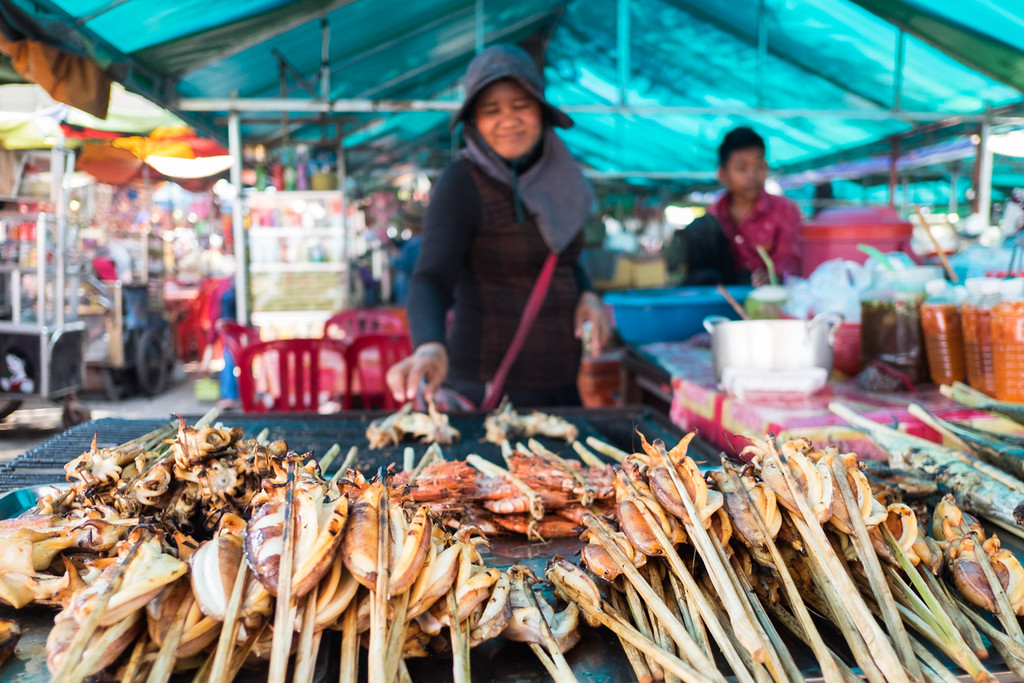 Grilled Seafood at Kep Crab Market