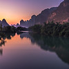 Sundown on Yulong river