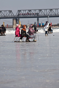 Ice Sledging, Songhua River, Harbin, Heiliongjiang Province, China