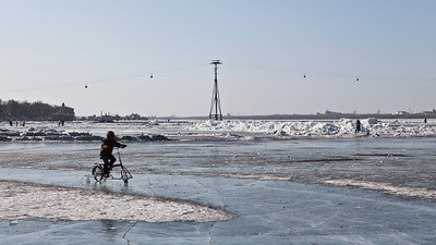 Ice Cycling, Songhua River, Harbin, Heiliongjiang Province, China