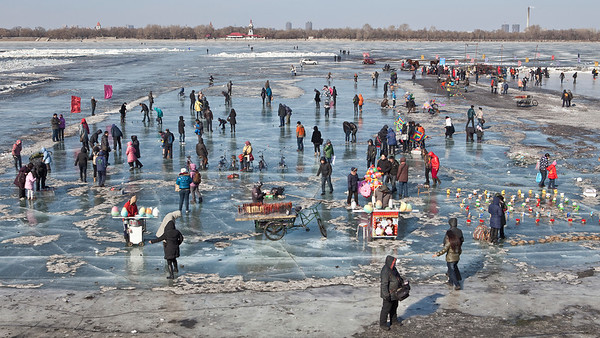 Frozen River Life, Songhua River, Harbin, Heiliongjiang Province, China