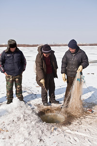 Ice Fishing, Songhua River, Harbin, Heiliongjiang Province, China