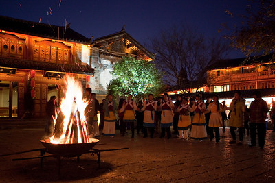 Dancing in the Square by Firelight, Old Town Lijiang