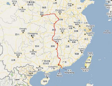Map of the return train trip from Xian - Guangzhou - Shenzhen - Hong Kong
