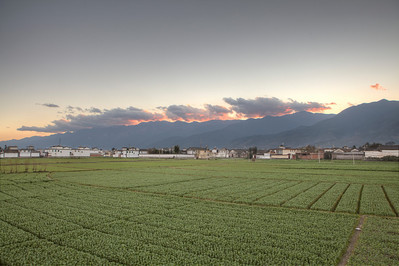 Sunset over Changshan Mountains, Xizhou  HDR from 3 exposures