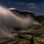Rice terraces under the moonlight