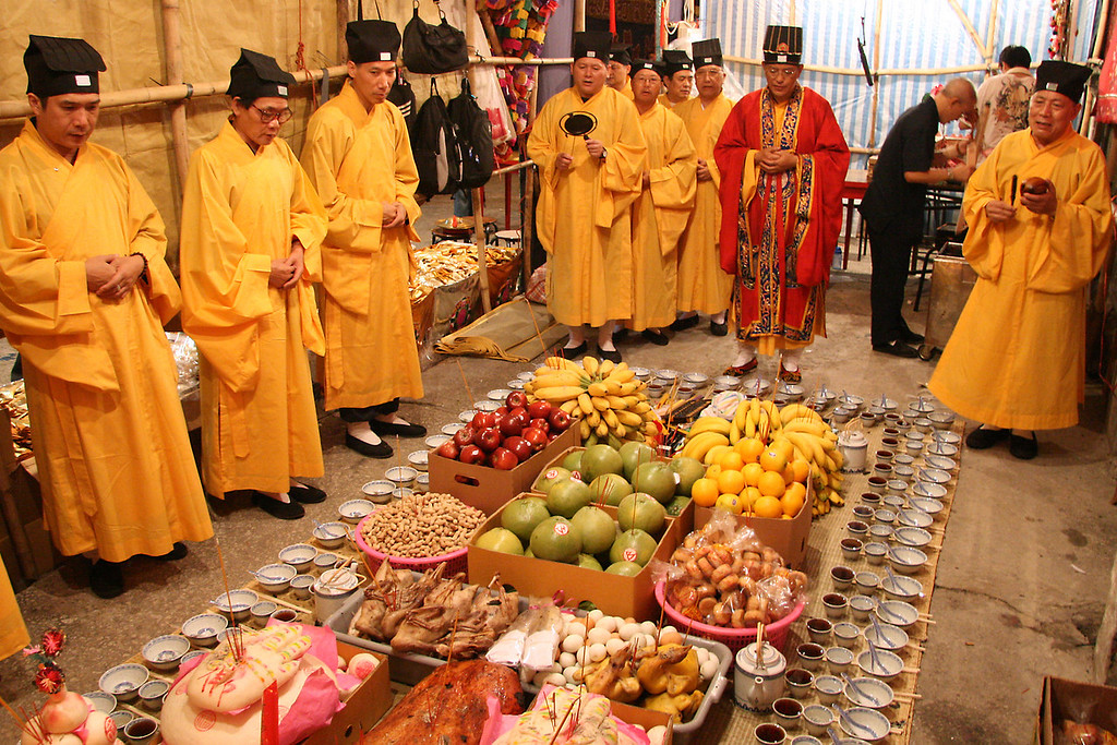 Taoist Monks Pray over the Ghost's Banquet