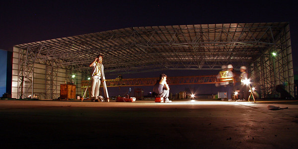 Night time surveying of the deck segments in Shatian