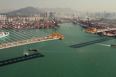 The tips of the cantilevers, 73 metres above the entrance to Hong Kong's main container terminals.