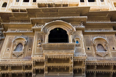 Haveli made out of intricately carved sandstone.